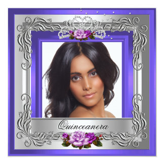Purple Silver Roses Quinceanera 15th Photo Card