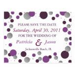 Purple & Silver Save the Date Postcard