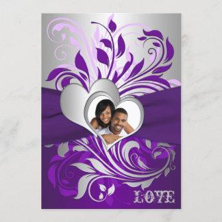 Purple Silver Scrolls, Hearts Photo Wedding Invite