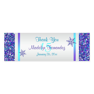 Purple, Silver Snowflakes Quinceanera Favor Tag Double-Sided Mini Business Cards (Pack Of 20)