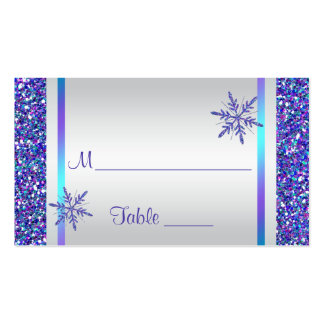 Purple, Silver Snowflakes Quinceanera Place Card Double-Sided Standard Business Cards (Pack Of 100)