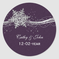 purple Silver Snowflakes wedding favor stickers