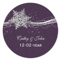 purple Silver Snowflakes wedding favor stickers