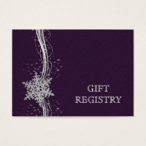 purple Silver Snowflakes wedding gift registry Business Card