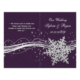 purple Silver Snowflakes wedding programs folded