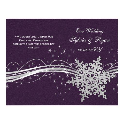 purple Silver Snowflakes wedding programs folded Custom Flyer
