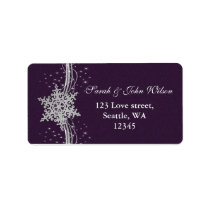 purple Silver Snowflakes Winter address label