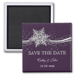 purple Silver Snowflakes Winter save the Date 2 Inch Square Magnet