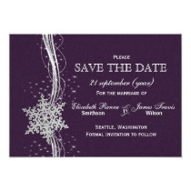 purple Silver Snowflakes Winter  save the date Card