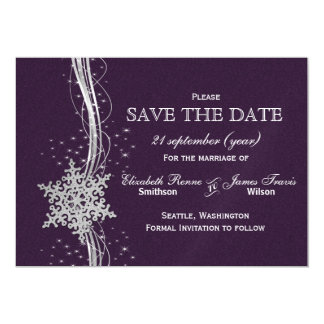 purple Silver Snowflakes Winter  save the date Magnetic Card
