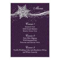 purple Silver Snowflakes Winter wedding menu cards