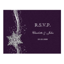 purple Silver Snowflakes Winter wedding RSVP Postcard