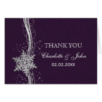 purple Silver Snowflakes Winter wedding Thank You Card
