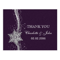 purple Silver Snowflakes Winter wedding Thank You Postcard