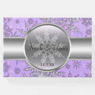 Purple Silver Snowflakes Winter Wonderland Guest Book