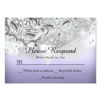 Purple & Silver Sparkle Masquerade RSVP Reply Card
