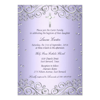 Purple Silver Swirl & Cross Baptism/Christening Card