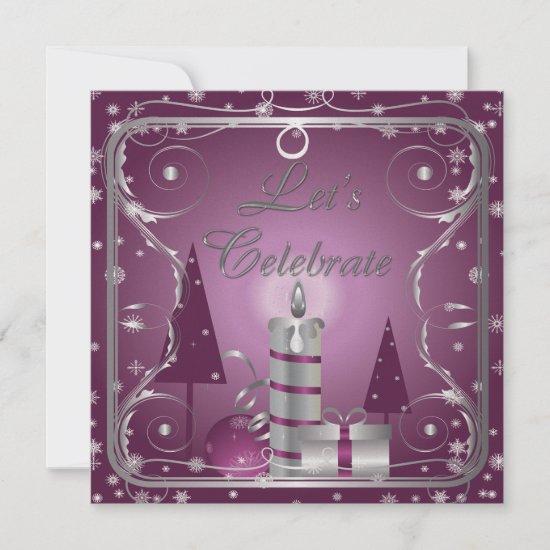Purple Silver Swirls Trees Ornaments Invitations