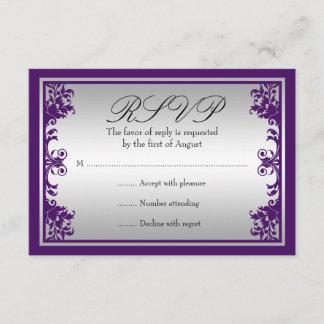 Purple Silver Vintage Flourish Scroll Wedding RSVP