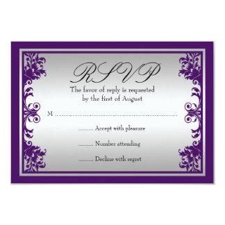 Purple Silver Vintage Flourish Scroll Wedding RSVP Card
