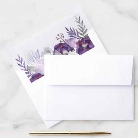Purple & Silver Watercolor Floral Wedding Envelope Liner