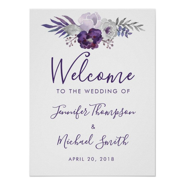 Purple & Silver Watercolor Floral Wedding Welcome Poster