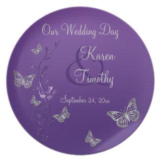 Purple, Silver Wedding Keepsake Melamine Plate