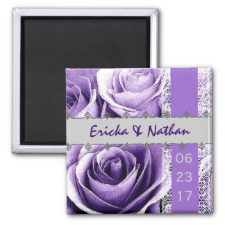 Purple & Silver Wedding Rose Bouquet with Lace 2 Inch Square Magnet