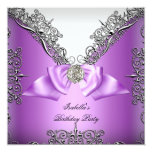 Purple Silver white Birthday Party Announcement