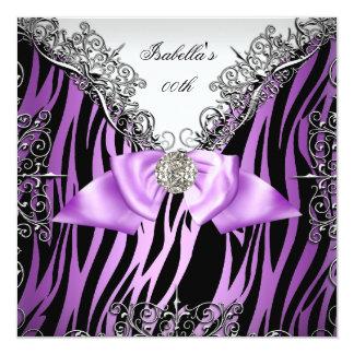 Purple Silver White Black Zebra Birthday Party Card