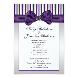Purple Silver White Stripes Diamonds Post Wedding Card