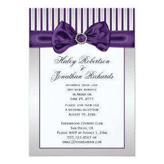 Purple Silver White Stripes Diamonds Post Wedding Custom Announcement