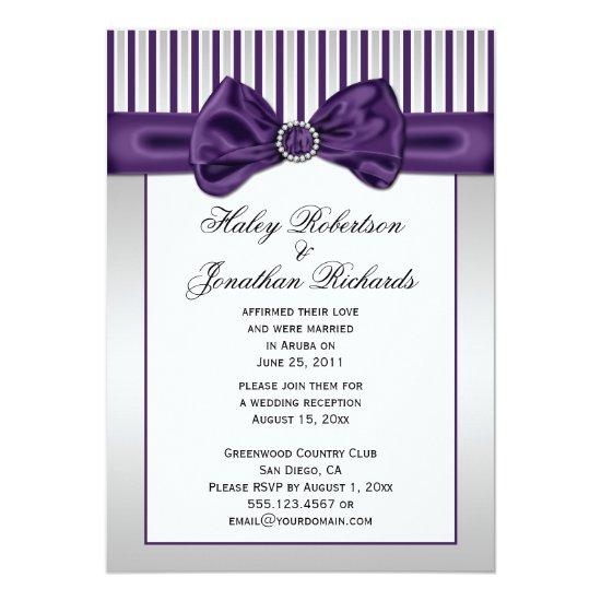 Purple Silver White Stripes Diamonds Post Wedding Invitation