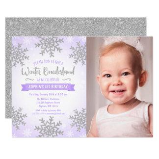 Purple Silver Winter ONEderland 1st Birthday Photo Card