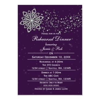 Purple Silver Winter Rehearsal Dinner invite