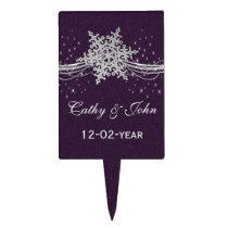 purple Silver  Winter wedding  cake picks