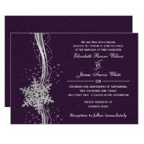 purple Silver  Winter wedding invitations