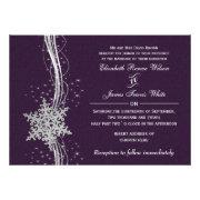 purple silver Snowflakes Winter wedding invites by mgdezigns