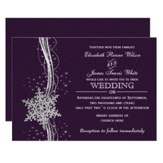 purple Silver Winter wedding invitations