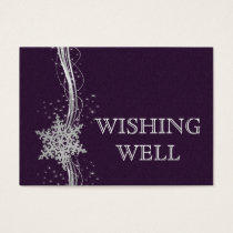 purple Silver  Winter wedding wishing well Business Card