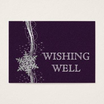 purple Silver  Winter wedding wishing well Business Card