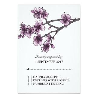 Purple Simple Cherry Blossoms RSVP Card