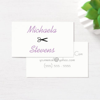 Purple Simple Make Up Artist Hair Stylist Business Card