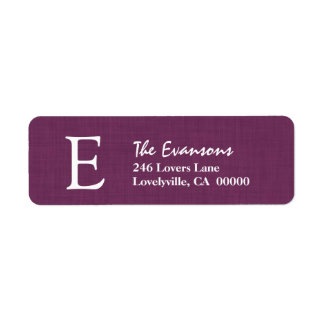PURPLE Simple Monogram B or Any Initial A004 Label