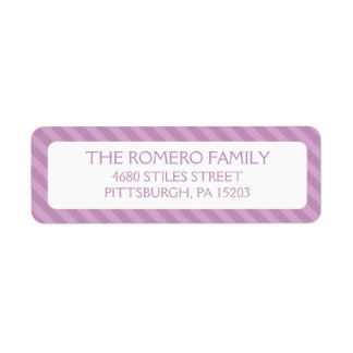 Purple Simple Stripes Custom Personalized Return Address Labels