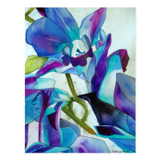 Purple Singapore Orchid flower watercolor art Postcard