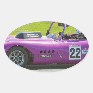Purple single seater racing car oval stickers