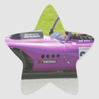 Purple single seater racing car star sticker