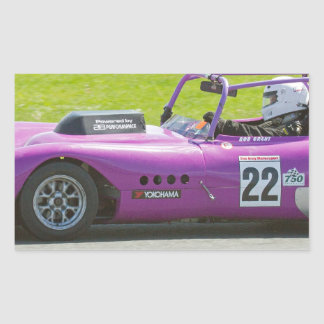 Purple single seater racing car rectangular sticker
