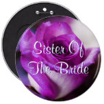 Purple Sister Of The Bride Rose 6 Inch Round Button